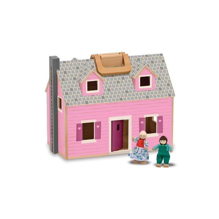 Melissa & Doug Fold and Go Wooden Dollhouse Set
