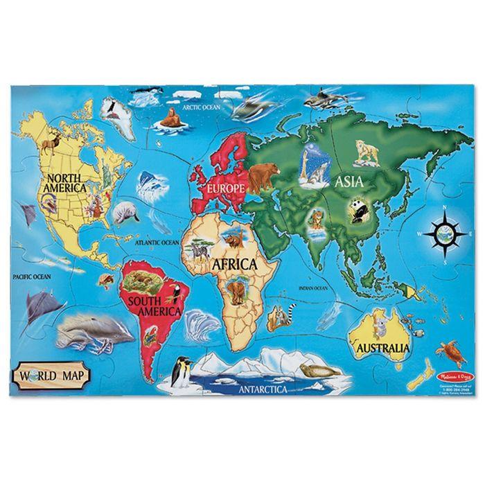 Melissa & Doug - World Map Jumbo Jigsaw Floor Puzzle