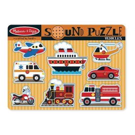 Melissa & Doug - Vehicles Sound Puzzle - Wooden Peg Puzzle With Sound Effects (8 pcs)