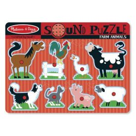 Melissa & Doug - Farm Animals Sound Puzzle - Wooden Peg Puzzle With Sound Effects (8 pcs)