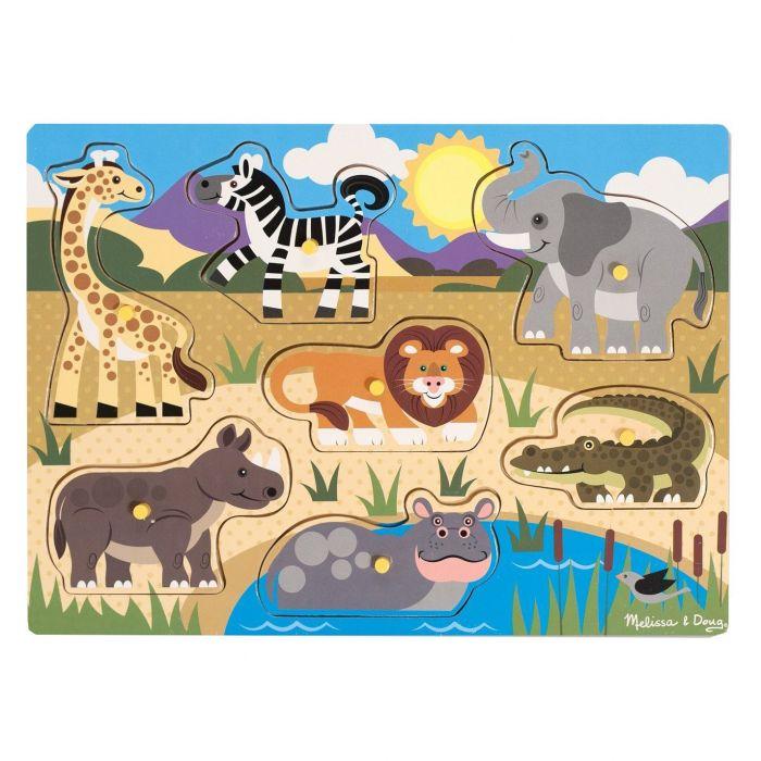 Melissa & Doug - Safari Wooden Peg Puzzle (7 pcs)