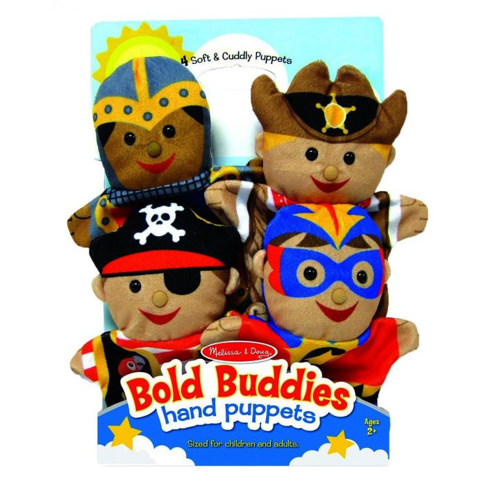 Melissa & Doug - Bold Buddies Hand Puppets (Set of 4) - Knight, Pirate, Sheriff, and Superhero