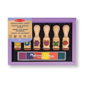 Melissa & Doug - Happy Handles Wooden Stamp Set: 6 Stamps and 6-Color Stamp Pad