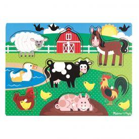 Melissa & Doug - Farm Wooden Peg Puzzle (8 pcs)