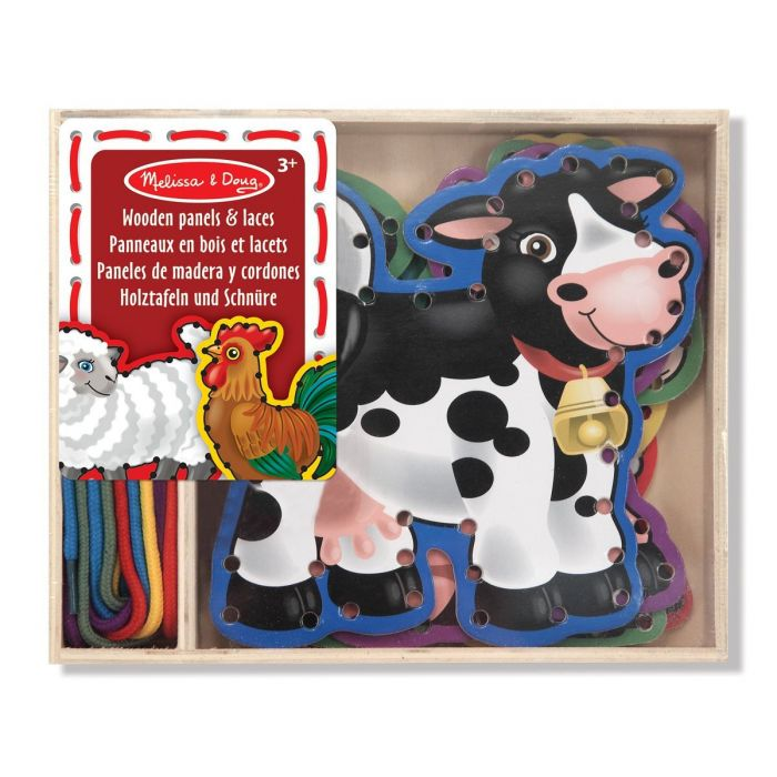 Melissa & Doug - Lace and Trace Activity Set: 5 Wooden Panels and 5 Matching Laces - Farm