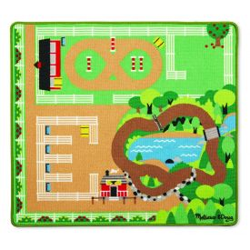 Melissa & Doug Round the Ranch Horse Activity Rug (99 x 92 centimeters) With 4 Play Horses and Folding Fence