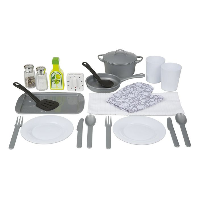 Melissa & Doug 22-Piece Play Kitchen Accessories Set - Utensils, Pot and Lid, Pans, Play Food