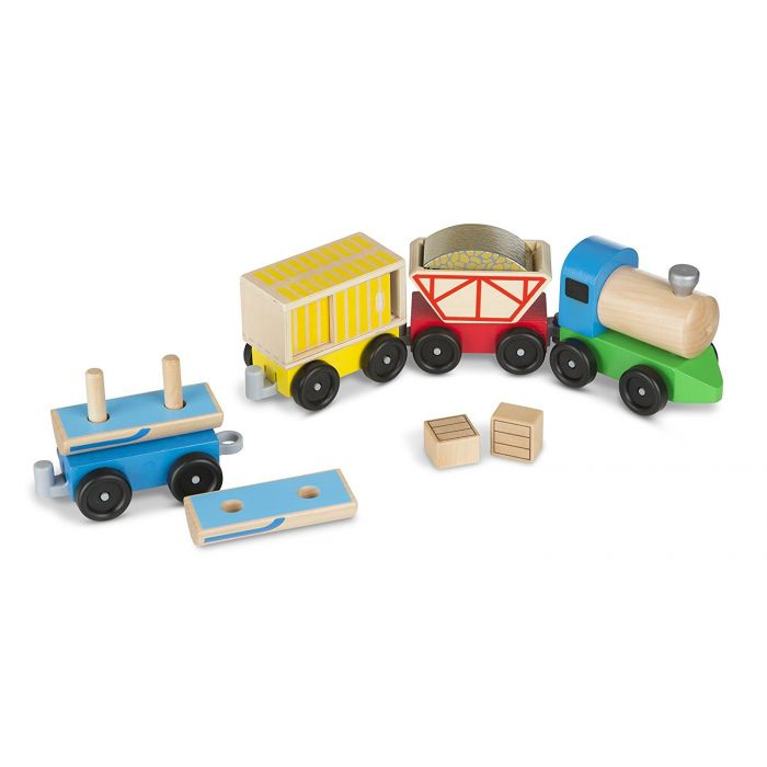 Melissa & Doug Cargo Train - Classic Wooden Toy (4 linking cars, approx. 12.7 cm long each)