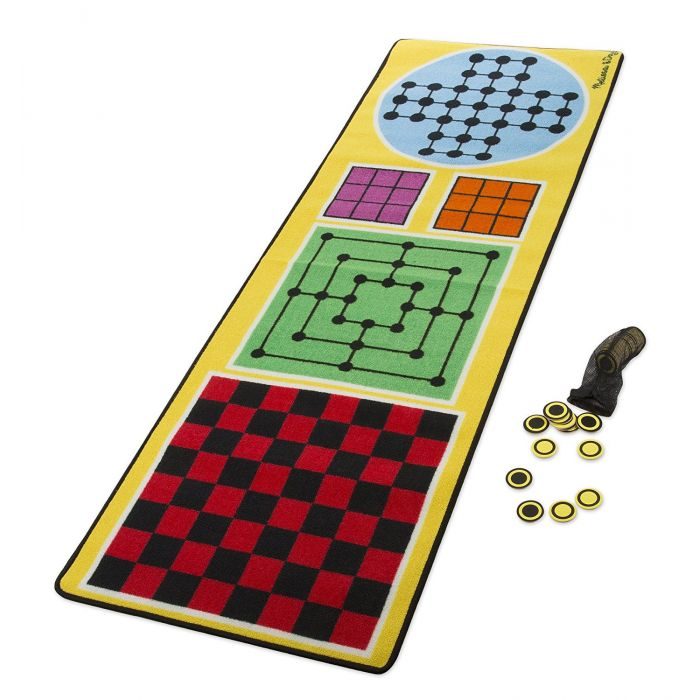 Melissa & Doug 4-in-1 Game Rug (200 x 65 centimeters) - 4 Board Games, 36 Game Pieces