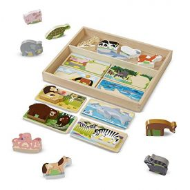 Melissa and Doug Picture Boards with Chunky Wooden Animal Play Pieces