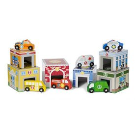 Melissa & Doug Nesting and Sorting Buildings Set with 6 Wooden Vehicles Toy, Multi-Colour