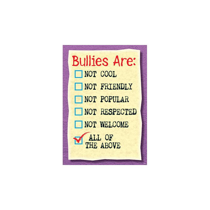 Bullies Are : Not Cool Not Friendly PSHE Poster
