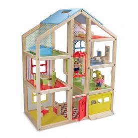Melissa and Doug Hi-Rise Wooden Dollhouse With 15 pcs Furniture - Garage and Working Elevator