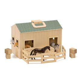 Melissa & Doug Fold and Go Wooden Horse Stable With Handle and 4 Toy Horses