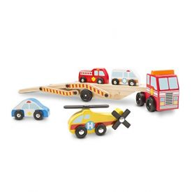 Melissa and Doug Wooden Emergency Carrier 1 Truck and 4 Rescue Vehicles