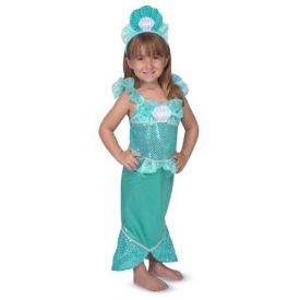 Melissa and Doug Mermaid Role Play Costume Set - Gown With Flaired Tail, Seashell Tiara