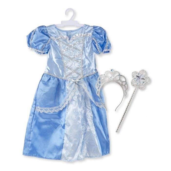 Melissa and Doug Royal Princess Role Play Costume Set (3 pcs) - Blue Gown, Tiara, Wand