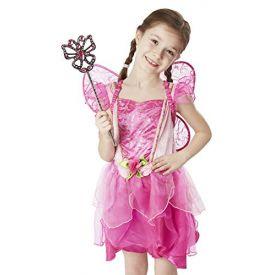 Melissa and Doug Flower Fairy Role Play Costume Set (3 pcs) - Pink Dress, Wings, Wand