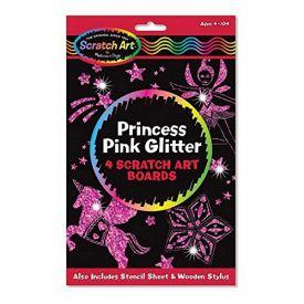 Princess Pink Scratch Art Glitter Boards