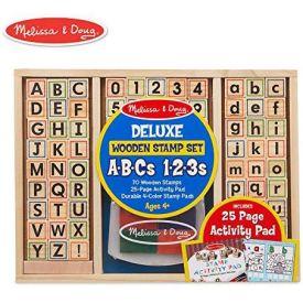 Melissa & Doug Deluxe Wooden Stamp Set - ABCs 123s