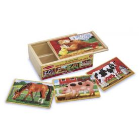 Melissa and Doug Farm 4-in-1 Wooden Jigsaw Puzzles in a Storage Box
