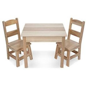 Melissa and Doug Solid Wood Table & Chairs  3-Piece Set