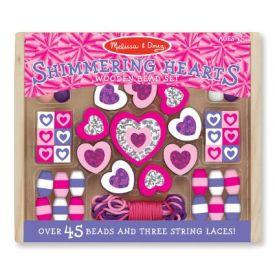 Melissa and Doug - Shimmering Hearts Wooden Bead Set