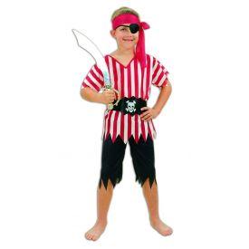 Pirate Boys Stripey Fancy Dress Costume